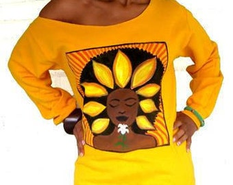 The Sunflower Off the Shoulder Sweatshirt in Yellow Gold