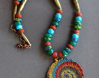 Zulu Telephone Wire Pendant Necklace Colorful Rainbow Mandala with Vintage Kakamba Trade Beads Rustic African Tribal Boho Jewelry