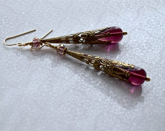 Edwardian Amethyst Earrings Art Nouveau Victorian Tussie Mussie Filigree Gold Filled Vintage Romantic Anniversary February Birthday Gift Her