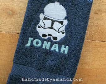 Star Wars Storm Trooper hand towel + First Name - Great gift for Young Jedi or Star Wars fan
