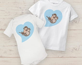OTTERS Best Friends funny baby toddler shirts bodysuit trendy animal twins onesie heart