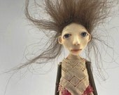 Cloth and paperclay folk art doll stick legs and arms ooak sculpted Evangeline