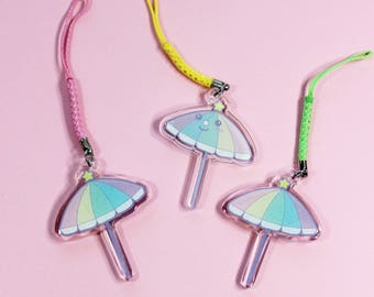Rainbow Beach Umbrella Double-Sided Acrylic Charm