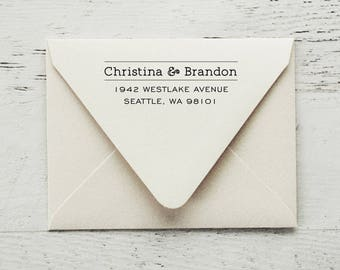 Return Address Stamp, Self-Inking Address Stamp, Custom Stamp, Modern Stamp, Personalized Stamp, Wedding Stamp, Wood Stamp - Style #92