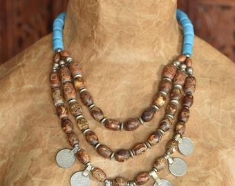 Tribal Tibetan Turquoise and Agate Bead Necklace
