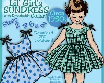Girls SWEET SUNDRESS 1950s VINTAGE e-pattern 4 Sizes included - Sister Sets - Download Pdf