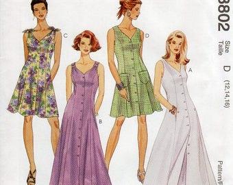 1990s Womens Princess Seam Dress Pattern - Vintage McCall's 8802 - Size 12 14 16 UNCUT FF