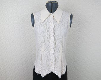 1990s Lace Sleeveless Blouse - Vintage San Andre - Bust 34