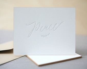 Letterpress Holiday Cards - Peace - Modern Holiday Cards, Calligraphy Holiday Cards