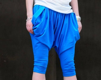 Blue / Big crotch trousers / long crotch trousers / pants