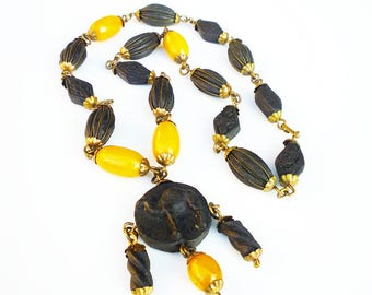 Shkab Bakelite Rose Petal Bead Necklace - Butterscotch Bakelite, Black Camel, Scented Beads, Vintage Necklace, North African Jewelry