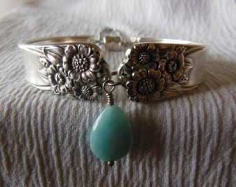 April  Antique Spoon Bracelet with Larimar  7.75 inch