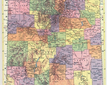 New Mexico Map Etsy - New mexico map
