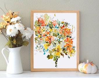 Rustic Mix No.2, Watercolor Fine Art Print, Watercolor Flowers, Fine Art Print, 8x10, 11x14