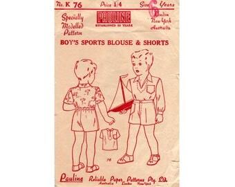 Pauline K 76 1940s Boys Shirt & Shorts Vintage Sewing Pattern Collectable Ephemera Size 6 years