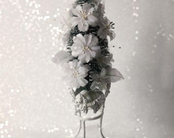 Tabletop Bottle Brush Christmas Tree Accent,  White Silk Flowers. Pearls. Shabby Cottage White. Victorian Wedding theme Tree