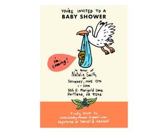 Custom Baby Shower Invite - Stork Theme