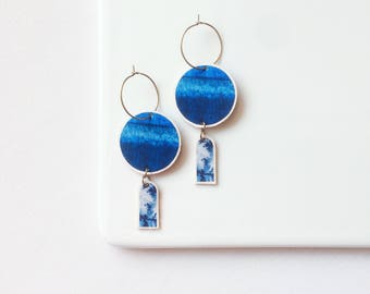 NIAMH round blue dangle earrings - delicate and lightweight - printed watercolor pattern