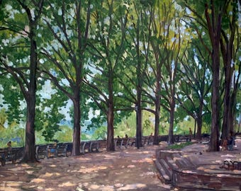 From Ft Tryon Park, Linden Terrace, NYC. Oil on Panel, 16x20 Impressionist Landscape, New York City Oil Painting, Signed Original Fine Art