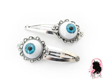 Antique Silver and Blue Eyeball Hair Clips, Evil Eye Hair Clips, Doll Eye Hair Clips, Blue Evil Eye Hair Clips, Silver Eyeball Hair Clips