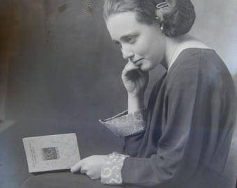 antique glass photo negative - dry plate - circa 1910s - woman reading Woodland Backgrounds book  - 5 x 7 plate - gn17
