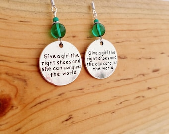 Give A Girl The Right Shoes Earrings, Green Conquer the World Sterling Silver Earrings, Give A Girl The Right Shoes Green Sterling Earrings
