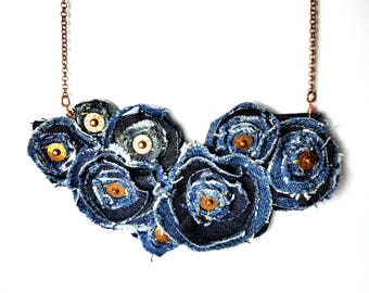 Jeans Necklace, Blue Flower Necklace, Repurposed Recycled Upcycled, Bib Necklace, Denim Jewelry