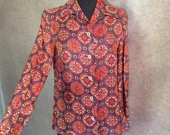 Vintage 60's Shirt, Vintage Pajama Shirt, Red and Gray Medallion Print, Long Sleeve, Medium to Large, Bohemian, Morrocan