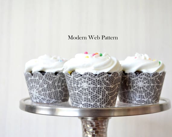 12 Spider Web Cupcake Wrappers - Choose from a Modern or Classic pattern. Perfect for superhero parties, school events, or Halloween.