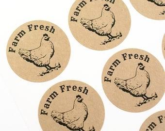 Shop Exclusive - Farm Fresh stickers - farmers market, local farming, hobby farm, fresh eggs - chicken stickers