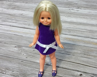 Velvet Doll, Growing Hair Doll, Purple Velvet Dress and Shoes, Open and Close Eyes, Crissy Cousin, Vintage Doll, Vintage Ideal Doll
