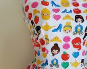 50's style Those Princess Feels, Disney Princess, emoji Print Cotton Dress,Pinup, vintage reproduction, novelty print