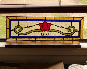 Stained Glass Transom - Victorian Tulip Panel