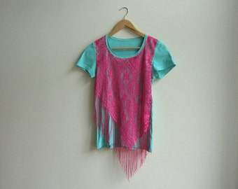 Lace Fringe T Shirt, Upcycled Pink Lace Boho Chic Tee, Unique Coachella Concert Clothes, Hot Pink and Turquoise Shirt, Repurposed Clothing