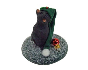 The Carolers Byers Choice Gray Christmas Kitty Cat in Green Stocking Cap