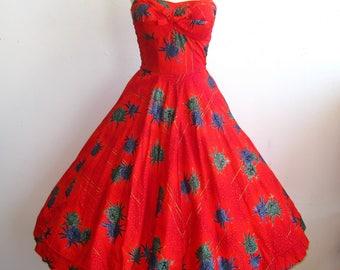 Vintage 50s Manu Kai Red Hawaiian Halter Full Skirt Tiki Luau Summer Dress