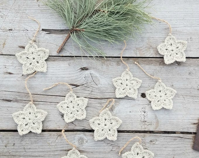 Ready to Ship,Star Ornaments,Set of 10,Rustic Ornaments,Rustic Star Ornaments,Primitive Ornaments,Primitive Star Ornaments,Crochet star,Star