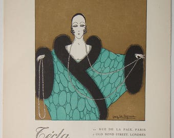 Tecla pearl necklace Advert from Gazette du BON TON 1920 Pochoir print