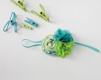 Teal Time Lime- teal turquoise lime and aqua ruffle rosette headband bow