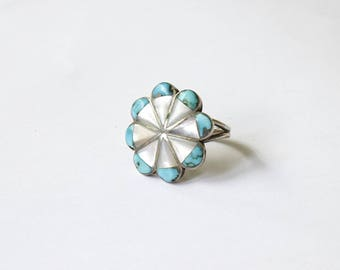 Vintage Turquoise and Mother of Pearl Sterling Silver Ring c.1970s