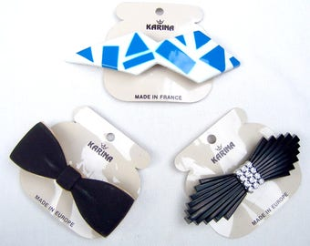 3 vintage hair accessory bow theme hair barrette Karina 1980s hair slide hair ornament hair jewelry (ABN)