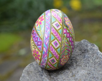 Pink Pysanka on large Duck egg by Katya Trischuk isometric design something so new