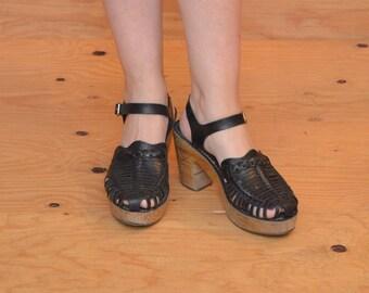 Classic 70's Huarache High Heel Platform In Black Woven Leather Wooden Heel SZ 8.5 / 9