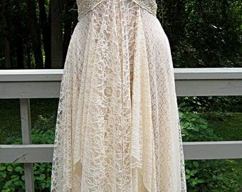 Plus size 1X-2X beige champagne cafe au lait beach bohemian boho gypsy hippie wedding dress, formal dress, lace dress, 43-48 inch bust