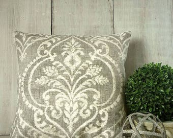 Taupe Gray Damask Pillow Cover -  - Paris Cottage Chic
