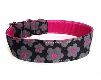 Mod Black and Grey Floral Dog Collar