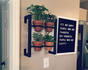 Hanging planter, indoor/outdoor herb garden, Hanging herb garden, fixer upper inspired 4 pot herb garden inward tabs
