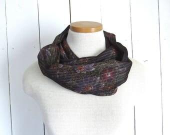 Fabric Scarf Retro Floral Infinity Scarf Eco Friendly Vintage Sheer Fabric Cowl Purple Metallic