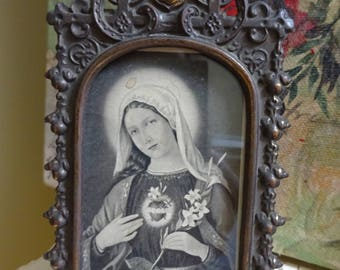 AMAZING Vintage Ornate Framed Print - Immaculate Heart Mary - THE BEST Art Nouveau Metal Frame