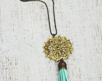 Essential Oil Diffuser Tassel Necklace   Aqua Filigree Tassel Necklace   Vegan Suede Jewelry   Aromatherapy Necklace   Tassel Necklace